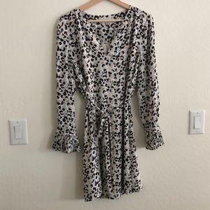 Loft • leopard print belted dress